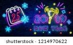 2019 happy new year neon text.... | Shutterstock .eps vector #1214970622