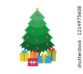christmas tree with gift boxes... | Shutterstock .eps vector #1214975608