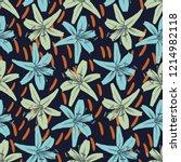 vector design with flower tiger ... | Shutterstock .eps vector #1214982118
