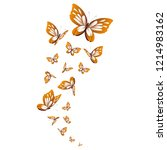 Stock photo beautiful yellow butterflies isolated on a white 1214983162