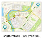 city map navigation route ... | Shutterstock .eps vector #1214985208