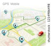 city map navigation route ...   Shutterstock .eps vector #1214986498