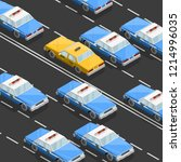 flat 3d isometric police car... | Shutterstock .eps vector #1214996035
