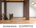 attic loft open space empty...   Shutterstock . vector #1214999722