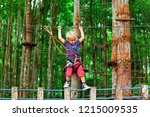 brave young child in safety... | Shutterstock . vector #1215009535