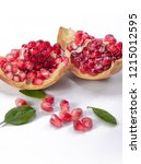 blood red pomegranate | Shutterstock . vector #1215012595