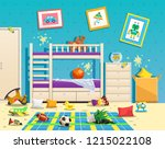 messy children room interior... | Shutterstock .eps vector #1215022108