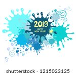 2019 happy new year greeting... | Shutterstock .eps vector #1215023125