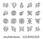 set of world map vector line... | Shutterstock .eps vector #1215042325