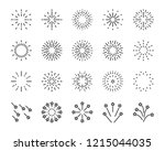 firework line icon set  happy... | Shutterstock .eps vector #1215044035