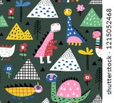 childish seamless pattern with... | Shutterstock .eps vector #1215052468