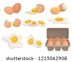 Flat Vector Set Of Eggs In...