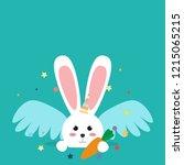 happy easter bunny in a unicorn ... | Shutterstock .eps vector #1215065215
