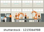 cartoon color smart factory... | Shutterstock .eps vector #1215066988