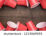disposable plastic cups on the... | Shutterstock . vector #1215069055