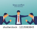 stop conflict. businessman... | Shutterstock .eps vector #1215083845
