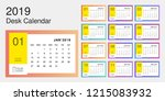 2019 desk calendar. simple... | Shutterstock .eps vector #1215083932