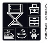 set of 6 interior outline icons ... | Shutterstock .eps vector #1215086392