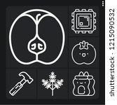 set of 6 macro outline icons... | Shutterstock .eps vector #1215090532