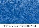 wire frame city  blueprint... | Shutterstock .eps vector #1215107188