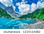sorapiss lake in italian alps ... | Shutterstock . vector #1215114382