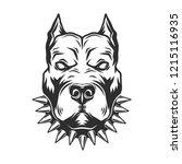 pitbull head isolated on white... | Shutterstock .eps vector #1215116935
