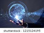 global communication network... | Shutterstock . vector #1215124195