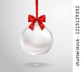 christmas ball with red ribbon... | Shutterstock .eps vector #1215129352