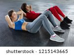 young fit women at gym doing... | Shutterstock . vector #1215143665