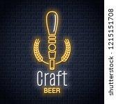 beer tap neon logo. craft beer... | Shutterstock .eps vector #1215151708