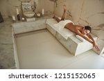 hammam joy. happy young lady... | Shutterstock . vector #1215152065