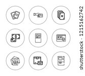 debit icon set. collection of 9 ... | Shutterstock .eps vector #1215162742
