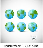 set of blue globe icons with... | Shutterstock .eps vector #121516405