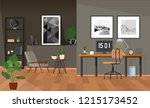posters above the desk with a... | Shutterstock .eps vector #1215173452