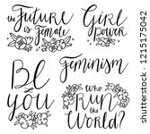 feminist slogans and quotes ...   Shutterstock .eps vector #1215175042