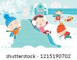 landscape with cute children in ... | Shutterstock .eps vector #1215190702