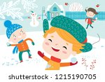 landscape with cute children in ... | Shutterstock .eps vector #1215190705