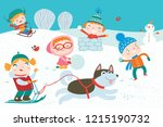 landscape with cute children in ... | Shutterstock .eps vector #1215190732