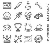ui icon set. gaming line... | Shutterstock .eps vector #1215192142
