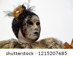 carnival gold black mask and... | Shutterstock . vector #1215207685