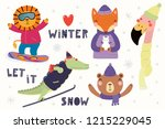 big set with cute animals in... | Shutterstock .eps vector #1215229045