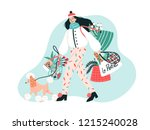 smiling young woman dressed in... | Shutterstock .eps vector #1215240028