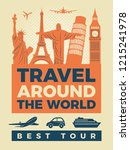 travel poster with... | Shutterstock . vector #1215241978