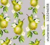 watercolor pattern with pears...   Shutterstock . vector #1215246058