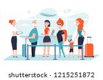 queue at the airport. group of... | Shutterstock .eps vector #1215251872