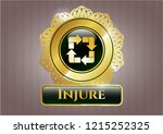 gold shiny emblem with recycle ... | Shutterstock .eps vector #1215252325