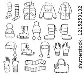 hand drawn set of winter... | Shutterstock .eps vector #1215253132