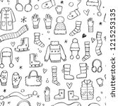 hand drawn seamless pattern of... | Shutterstock .eps vector #1215253135