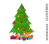 decorated christmas tree with... | Shutterstock .eps vector #1215253852