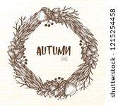 autumn wreath of forest... | Shutterstock .eps vector #1215254458
